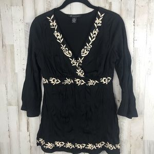 INC Black Embroidered Faux Wrap Empire Waist Small